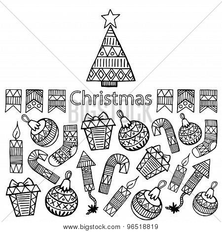 Christmas Sketch Icons Isolation Horizontal Banner Vector Design Illustration.