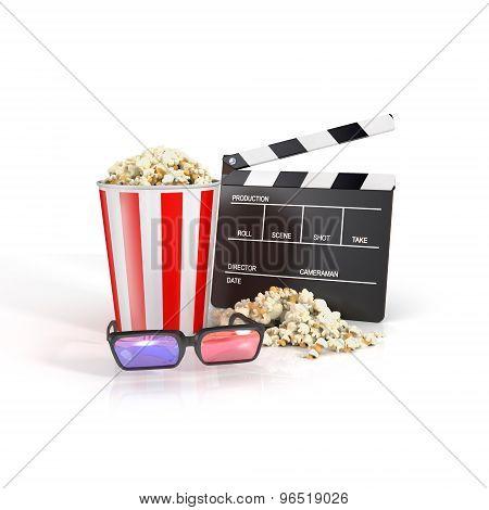 Clapper, Popcorn. 3Dglasses