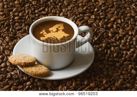 Still Life - Coffee With Map Of Europe Continent