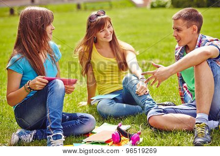 Friendly teenagers spending free time on green lawn
