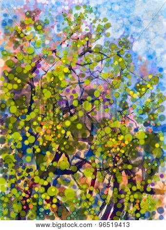 Spring Nature Season.abstract Watercolor Painting