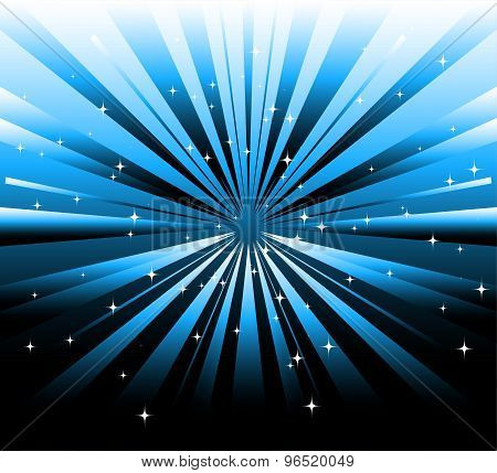 Abstract dark background and blue ray with star