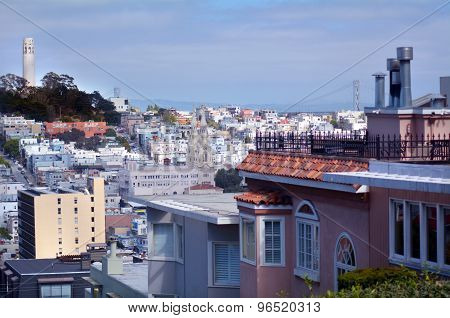 Coit Tower As View From Lombard Street In San Francisco - Ca