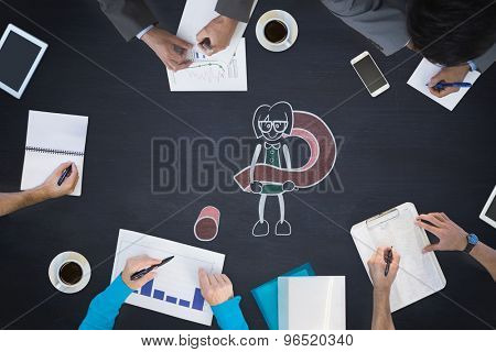 Business meeting against cute character with question mark