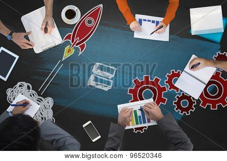 Business meeting against rocket and cogs graphic