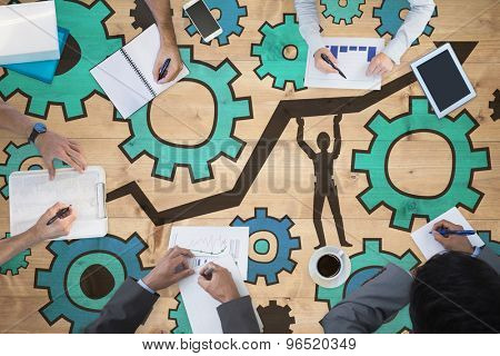 Business meeting against bleached wooden planks background