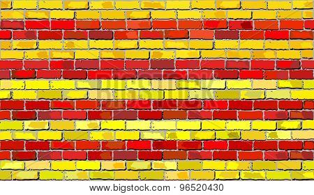 Grunge Flag Of Catalonia On A Brick Wall