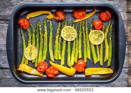 Baked Vegetables: Asparagus, Cherry Tomatoespaprika, Lemon