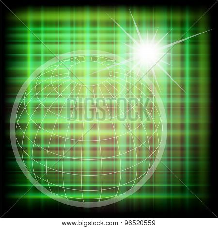 Design world green grid globe background abstract