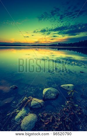 Vintage Photo Of Beautiful Lake Sunset