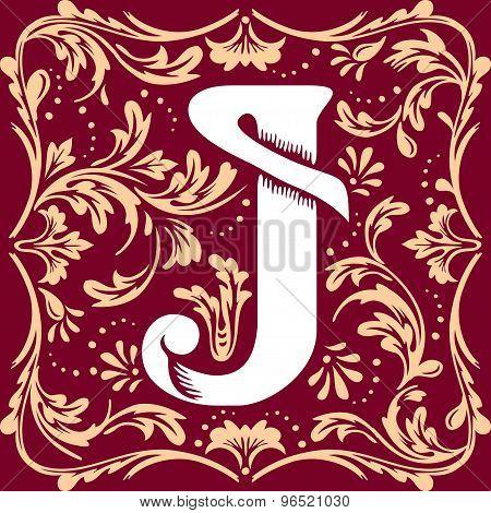 Old vintage letter J