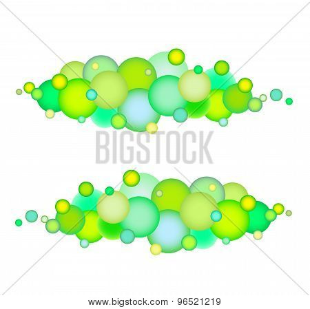 Bubble String Pattern In Multiple Green Yellow Over White