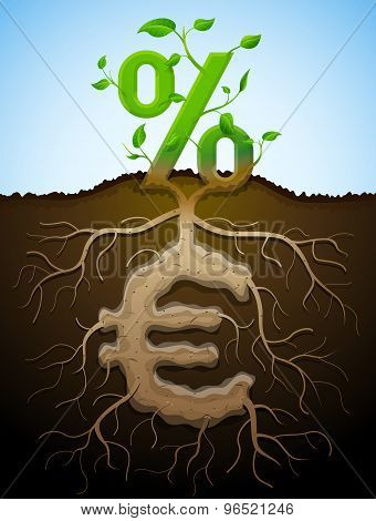 Growing Percent Sign As Plant With Leaves And Euro Sign As Root