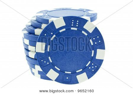 Blue Poker Chips Isolated