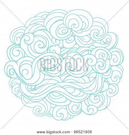 Hand drawn background with linear twirl pattern. Template for design and decoration winter greeting