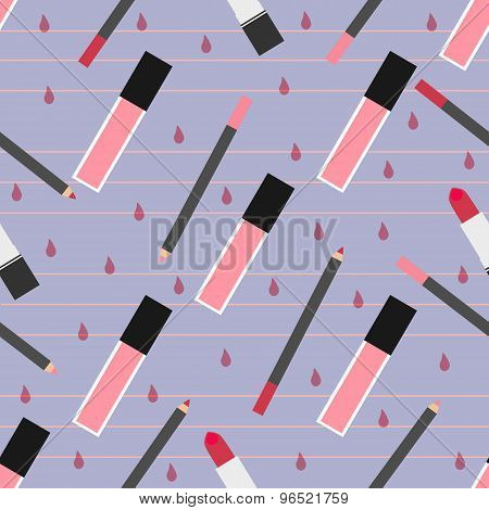 Lip Make-up Seamless Pattern
