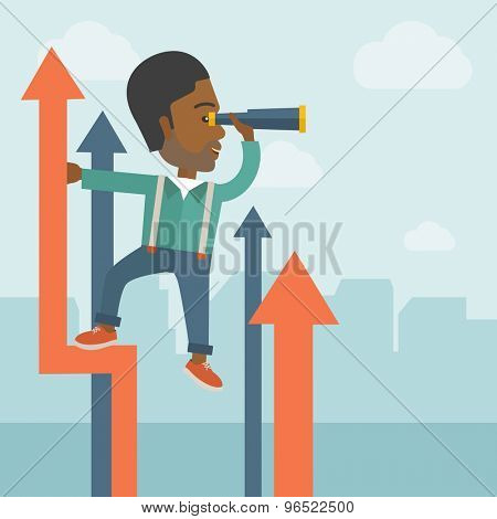 A successful african businessman stand on top of graph arrow using his telescope looking how high he is. Business success, self development concept. A Contemporary style with pastel palette, soft blue