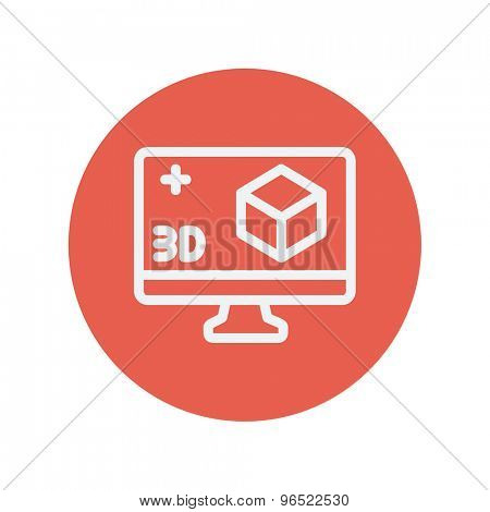 Computer monitor with 3D box thin line icon for web and mobile minimalistic flat design. Vector white icon inside the red circle.