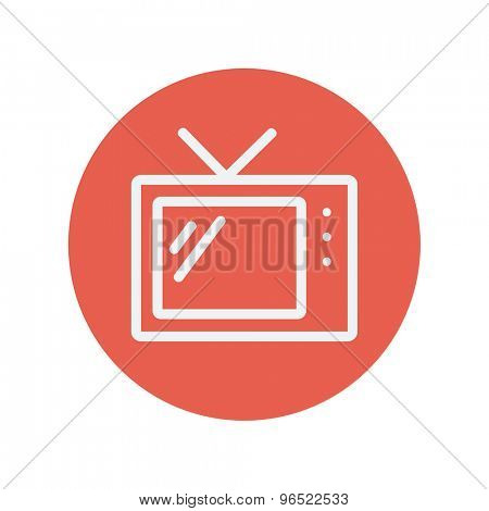 Retro television thin line icon for web and mobile minimalistic flat design. Vector white icon inside the red circle.