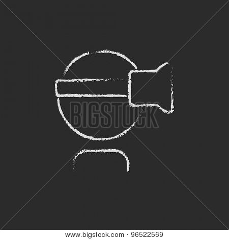 Virtual relaity headset hand drawn in chalk on a blackboard vector white icon on a black background