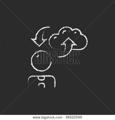 Man with cloud uploading and downloading arrows hand drawn in chalk on a blackboard vector white icon on a black background