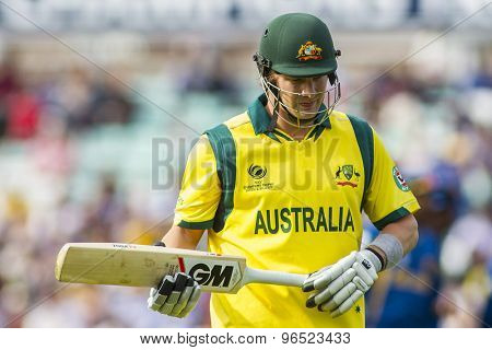 LONDON, ENGLAND - June 17 2013: Australia's Shane Watson walks off after being dismissed during the ICC Champions Trophy international cricket match between Sri Lanka and Australia.
