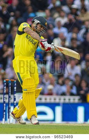 LONDON, ENGLAND - June 17 2013: Australia's Mitchell Johnson batting during the ICC Champions Trophy international cricket match between Sri Lanka and Australia.