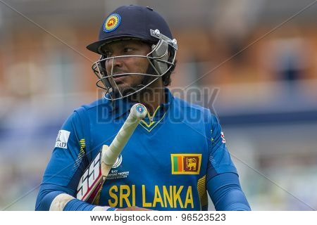 LONDON, ENGLAND - June 17 2013: Sri Lanka's Kumar Sangakkara walks off after being dismissed during the ICC Champions Trophy international cricket match between Sri Lanka and Australia.