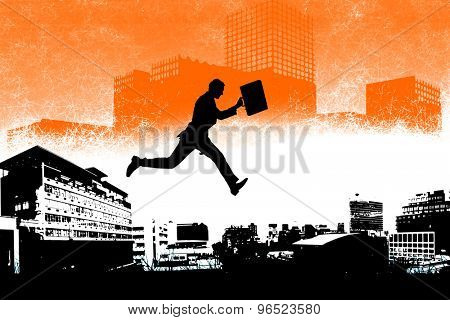 Businessman with briefcase against artistic cityscape design