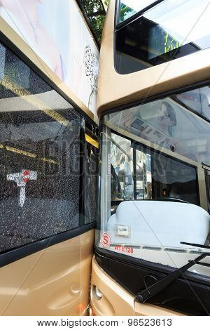 Hongkong,China-June 13,2015:Two bus crashed and badly damaged in hong kong.