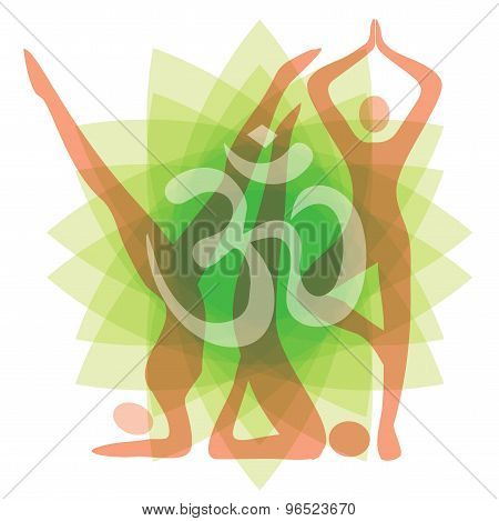 Yoga Silhouettes Background
