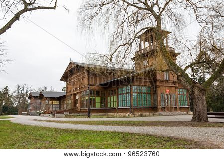 The historic pump room in Ciechocinek, Poland