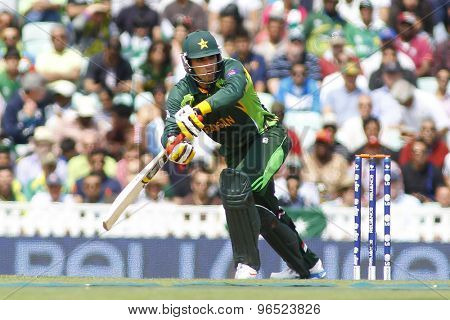 LONDON, ENGLAND - June 07 2013: Pakistan's Nasir Jamshed during the ICC Champions Trophy cricket match between Pakistan and The West Indies at The Oval Cricket Ground.