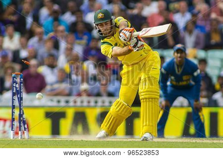 LONDON, ENGLAND - June 17 2013: Australia's Glenn Maxwell is bowled out by Sri Lanka's Lasith Malinga  during the ICC Champions Trophy international cricket match between Sri Lanka and Australia.