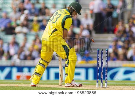 LONDON, ENGLAND - June 17 2013: Australia's Shane Watson is bowled out by Sri Lanka's Nuwan Kulasekara during the ICC Champions Trophy international cricket match between Sri Lanka and Australia.
