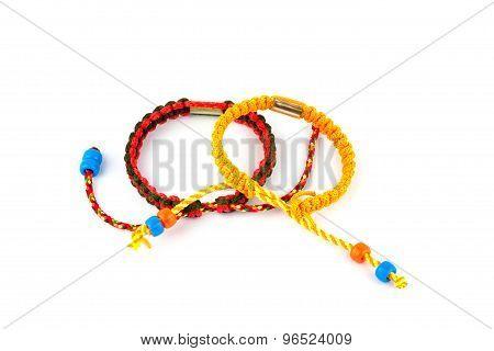 Buddhist Bracelets On A White Background