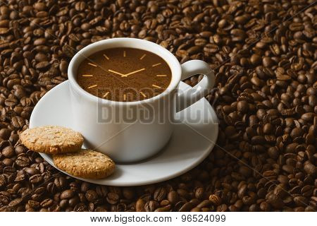 Still Life - Coffee With Symbol Of Clock