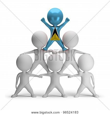 3d small people standing on each other in the form of a pyramid with the top leader St. Lucia