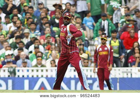 LONDON, ENGLAND - June 07 2013: West Indies Chris Gayle fielding during the ICC Champions Trophy cricket match between Pakistan and The West Indies at The Oval Cricket Ground.