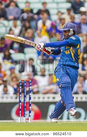 LONDON, ENGLAND - June 17 2013: Sri Lanka's Lahiru Thirimanne batting during the ICC Champions Trophy international cricket match between Sri Lanka and Australia.