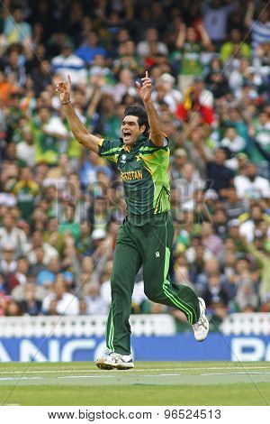LONDON, ENGLAND - June 07 2013: Pakistan's Mohammad Irfan appeals for a wicket during the ICC Champions Trophy cricket match between Pakistan and The West Indies at The Oval Cricket Ground.