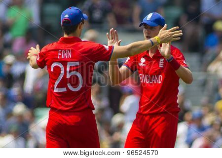 LONDON, ENGLAND - June 19 2013: England's Steven Finn and Stuart Broad celebrate during the ICC Champions Trophy semi final match between England and South Africa at The Oval Cricket Ground