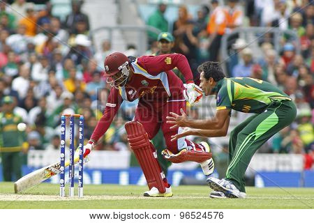LONDON, ENGLAND - June 07 2013: West Indies Chris Gayle runs a single during the ICC Champions Trophy cricket match between Pakistan and The West Indies at The Oval Cricket Ground.