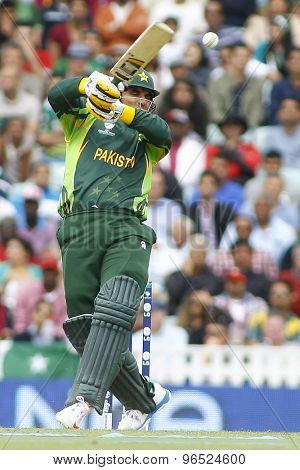 LONDON, ENGLAND - June 07 2013: Pakistan's Misbah-ul-Haq batting during the ICC Champions Trophy cricket match between Pakistan and The West Indies at The Oval Cricket Ground.