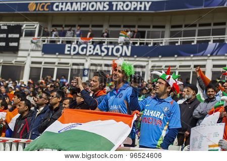 EDGBASTON, ENGLAND - June 15 2013: Fans during the ICC Champions Trophy cricket match between India and Pakistan at Edgbaston Cricket Ground.