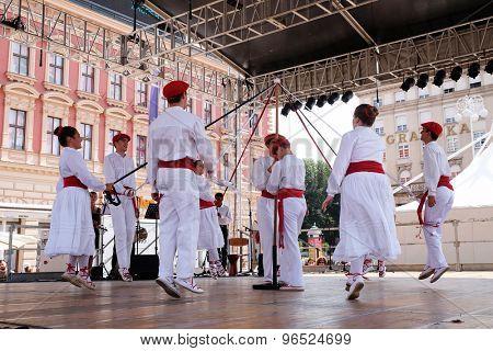 ZAGREB, CROATIA - JULY 16: Members of folk group Lagunekin from Bardos, France during the 48th International Folklore Festival in center of Zagreb, Croatia on July 16, 2015