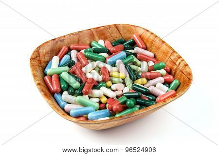 Lots Of Colorful Pills On White Background