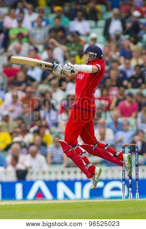 LONDON, ENGLAND - June 19 2013: England's Joe Root batting during the ICC Champions Trophy semi final match between England and South Africa at The Oval Cricket Ground
