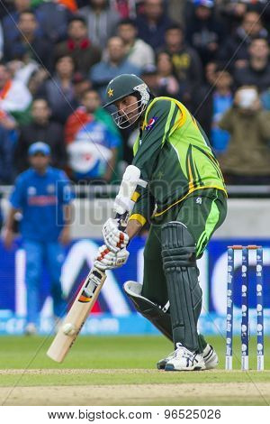 EDGBASTON, ENGLAND - June 15 2013: Pakistan's Mohammad Irfan batting during the ICC Champions Trophy cricket match between India and Pakistan at Edgbaston Cricket Ground.