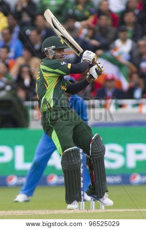EDGBASTON, ENGLAND - June 15 2013: Pakistan's Mohammad Hafeez batting during the ICC Champions Trophy cricket match between India and Pakistan at Edgbaston Cricket Ground.